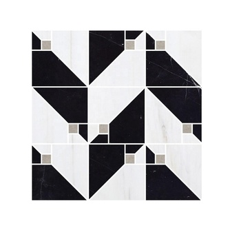 Polaris Tune Water Jet Marble Mosaic Tile Nero-Marquina Mixed Dolomite Marble and Cinderella