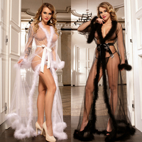 Newest Robe Perspective Sheer Sleepwear With Fur Womens Nightgowns