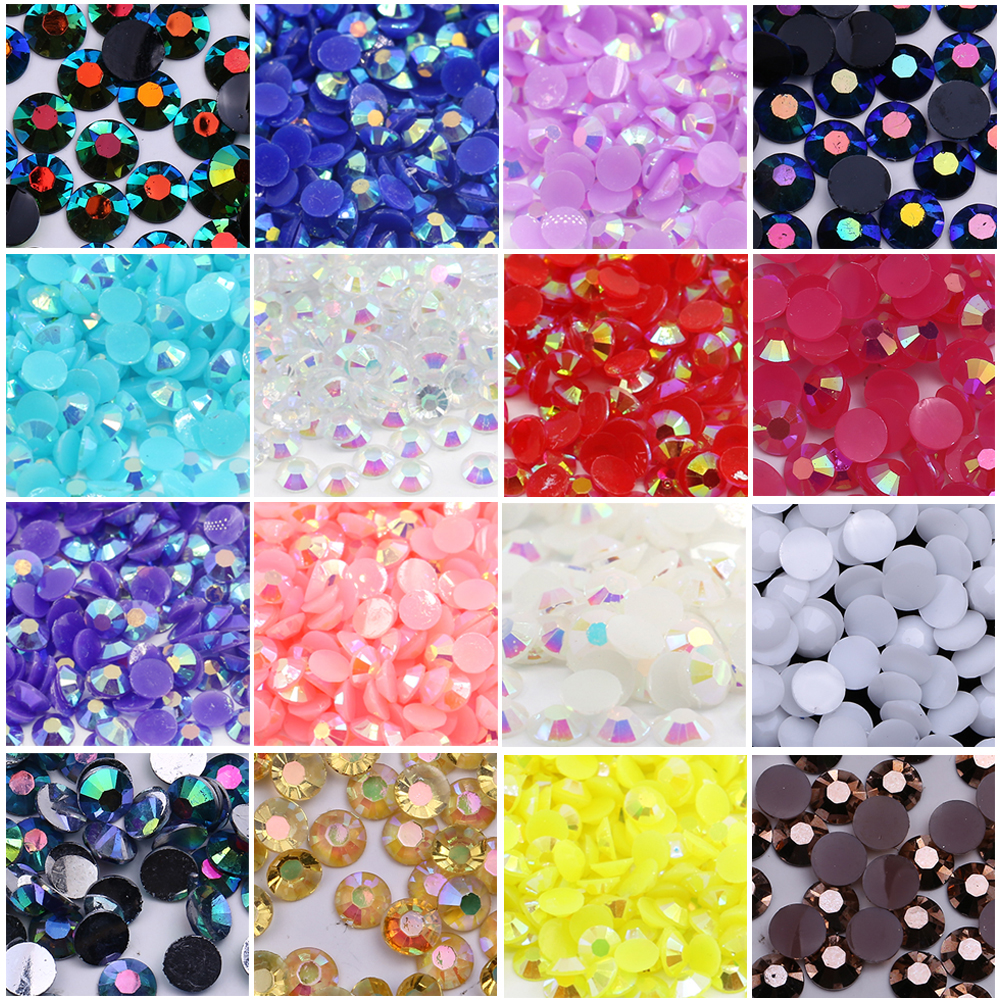 XULIN Jelly AB Colors Mixed Sizes Plastic Flatback Rhinestone Foiled Back Resin Stones
