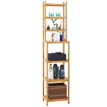 Refined-Bam Bamboo Bathroom <strong>Shelf</strong> 7-Tier Tower Free Standing Storage Organizer Rack,Natural