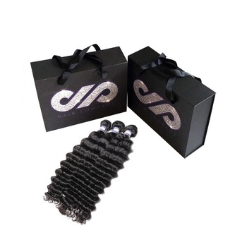 Custom Logo Weave Bundle Hair Extension Packaging Box with Handle