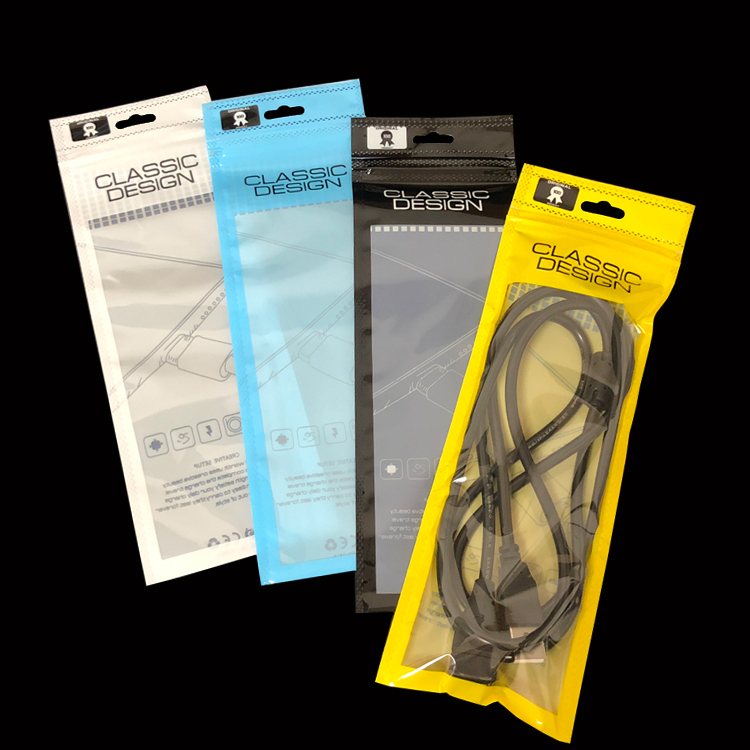 USB cable packaging bags classic design usb charger cable ziplock bags