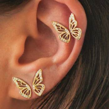 1 Pair 2020 Fashion Rhinestone Filled Gold Silver Rose Gold Butterfly Earrings, Stud Earrings For Women