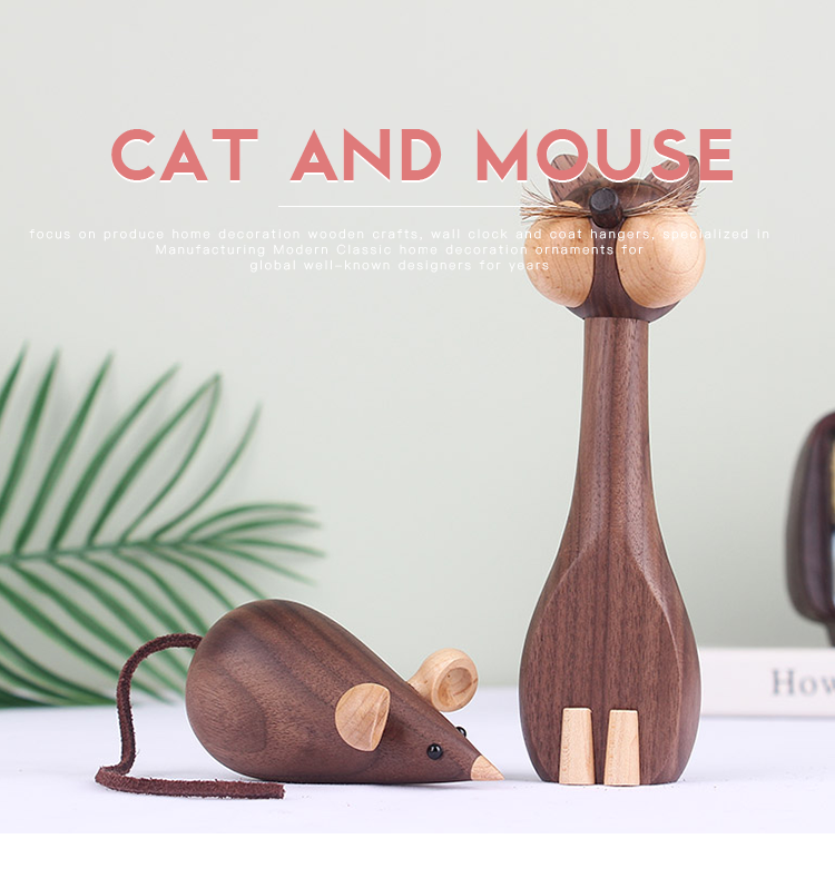 Nordic cat and mouse animal ornaments walnut wooden handicraft household puppet decorations for children's houses