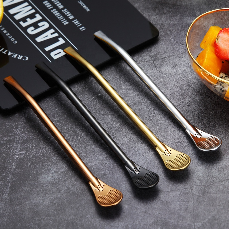 Multicolor Metal Stirring Spoon straw 304 stainless steel drinking straw spoon for juice milk