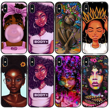 African American black girl shock proof and fall proof mobile phone accessories TPU protection for Apple iPhone SE 7 plus case