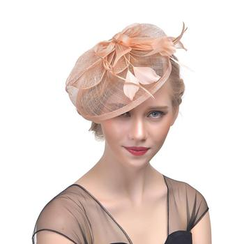 Hemp yarn headdress fashion bride hair dress banquet bowler hat feather headdress women tea party