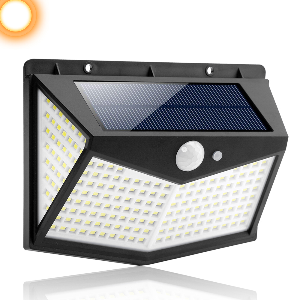 3 sides Outdoor waterproof Wireless garden solar lights 212 LED motion sensor solar garden light