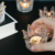 American european light luxury necklace ring storage disc glass embossed candlestick crown gold small decoration candle holder