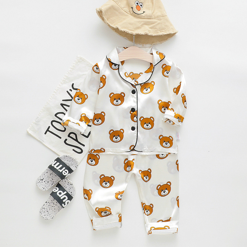 2020 new korean style summer and autumn satin fabric long-sleeve pajamas cartoon bear home clothes baby suit