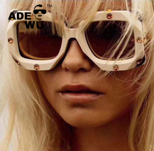 ADE WU BLS9038 Fashion Crystal Diamond Square <strong>Sunglasses</strong> Women 2019 Luxury Brand <strong>Plastic</strong> Oversized Sun glasses Vintage Shades