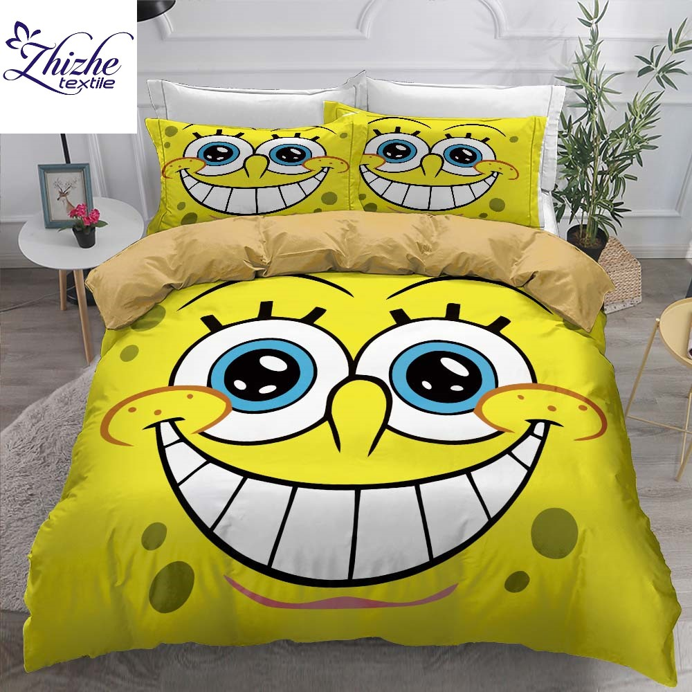 Cartoon style 2020 new design 3D SpongeBob SquarePants print duvet cover set