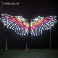 2d large waterproof dynamic neon motif angel wing with light for Valentine's Day exhibition hall wall decoration
