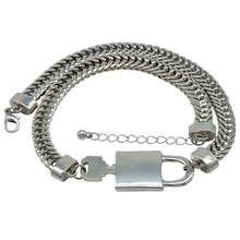 Simple Style Minimal Lock Key Love Silver 18kgp Cuban Link Chain Mens Necklace