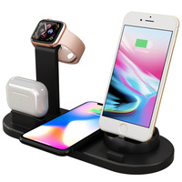 4 in 1 smart portable Qi phone holder watch fast wireless charging station pad dock 10w wireless charger stand