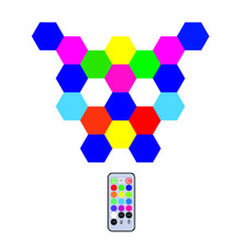 Creative induction lighting hexagonal <strong>module</strong> assembly quantum light RGB color <strong>led</strong> wall light touch sensitive