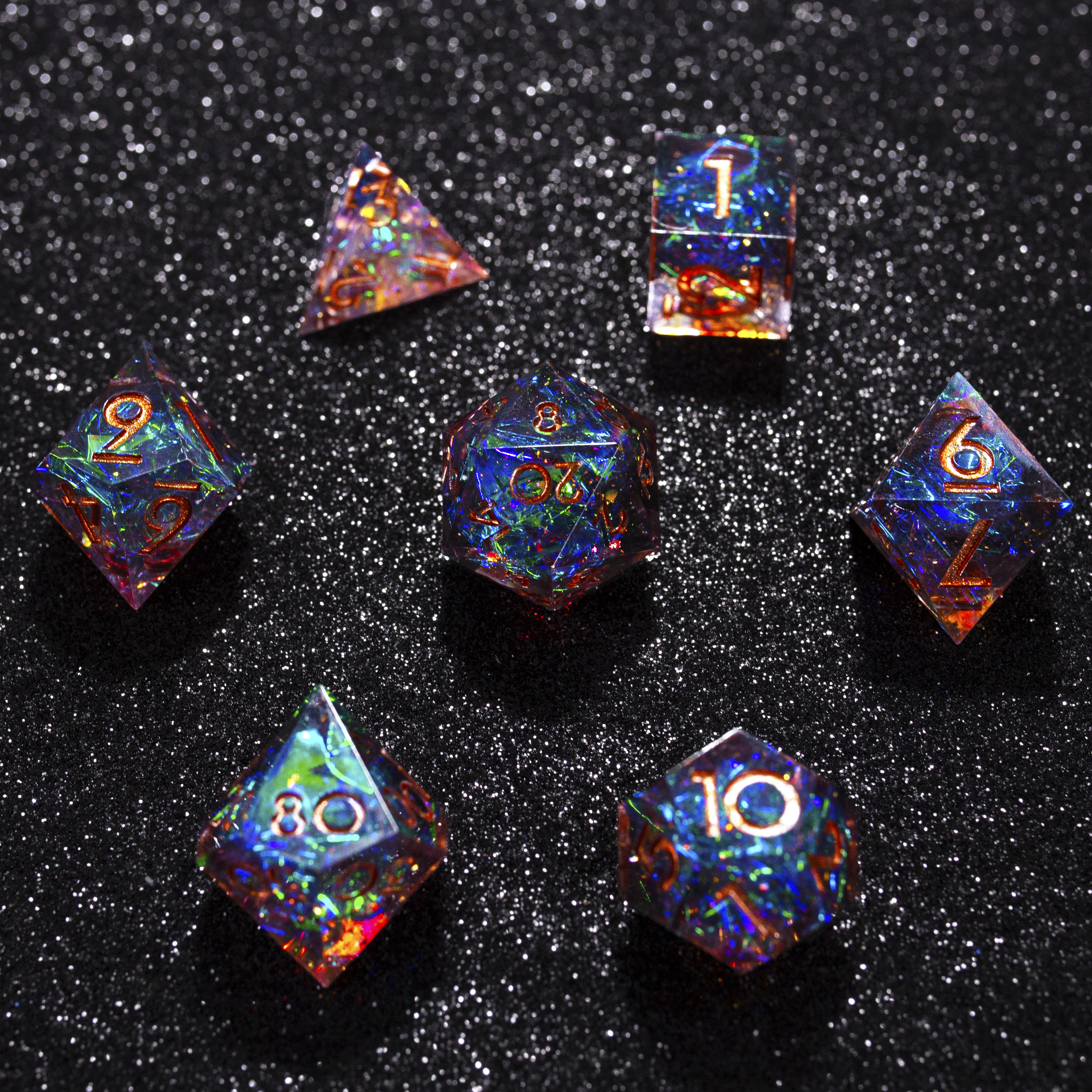 RPG DND dice set with high quality and unique design D4,D6,D8,D10,D10%,<strong>D12</strong>,D20 glitter dice