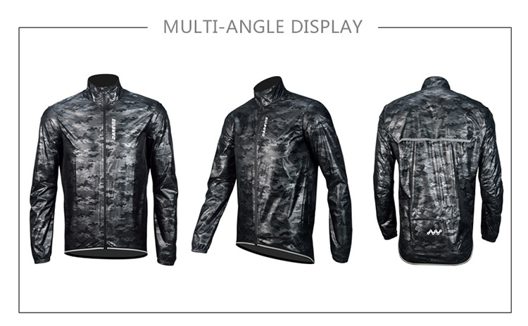 Darevie custom camouflage waterproof/windproof/rainproof with back pocket cycling bike rain coat