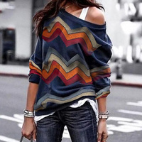 2019 New Casual Long Sleeve Strapless Printed Women Tops Blouses Lady T-Shirt