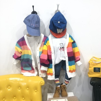 Hu Sunshine Wholesale 2019 childrens kids rainbow long cardigan coat