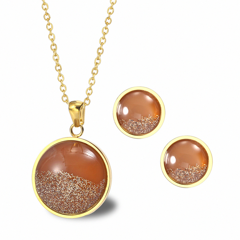 ZWJ002 Trade assurance 18K gold sea bottom sandstone jewelry set pattern round clavicle necklace earrings ladies jewelry suit