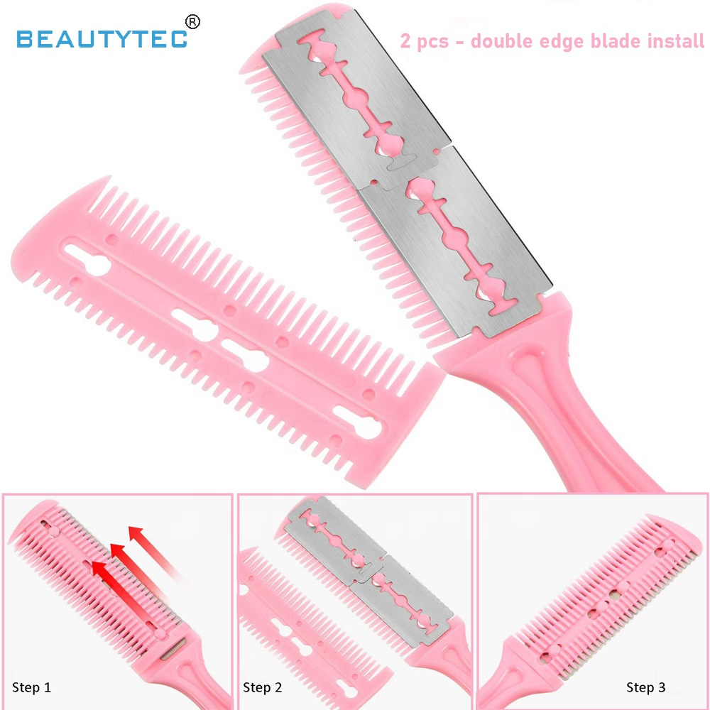 6 Color Hair Cutter Comb 7inch Double Edge Razor Shapen Hair Thinning Cutting Comb Razor for Hair Cutting Styling