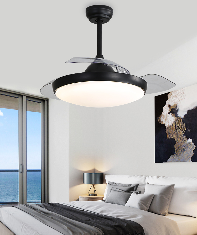 High Quality Best 42 Inch Invisible Ceiling Fans Blabe With Light Brand And Remote LED Ceiling Fan With Light