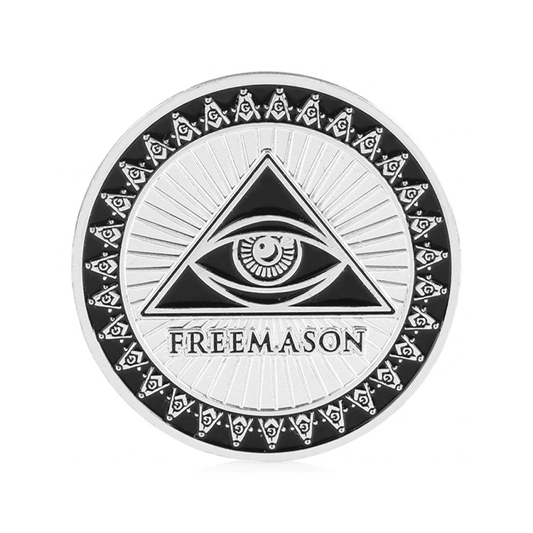 Custom 3d zinc alloy made your own metal masonic souvenir silver coins for sale