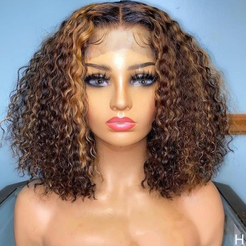 Kinky Curly Three Color Highlight Pre Plucked Human Hair Hd Lace Front Wig For Black Women