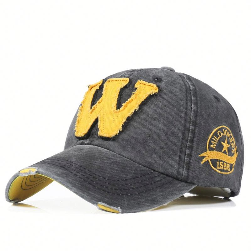 <strong>W</strong> letter washed men and women cap embroidered baseball cap