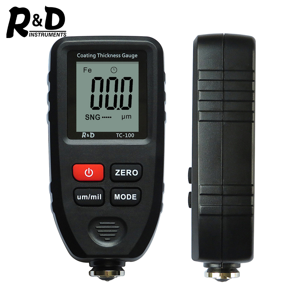 R&amp;<strong>D</strong> TC100 Coating Thickness Gauge <strong>0</strong>.1micron/<strong>0</strong>-1300 Car Paint Film Thickness Tester Measuring FE/NFE Russian Manual Paint Tool