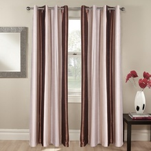 Quality guaranteed brown 100% polyester led blackout curtains length linen fabric plain curtain <strong>set</strong>