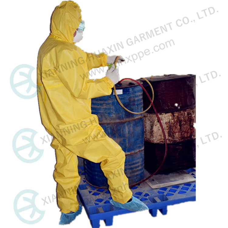 TYPE3B Yellow Chemical Liquid Protection Working Place Safety Suits Coveralls