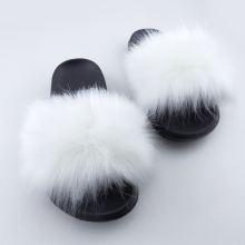 Online shopping soft faux fur women slippers fur slides