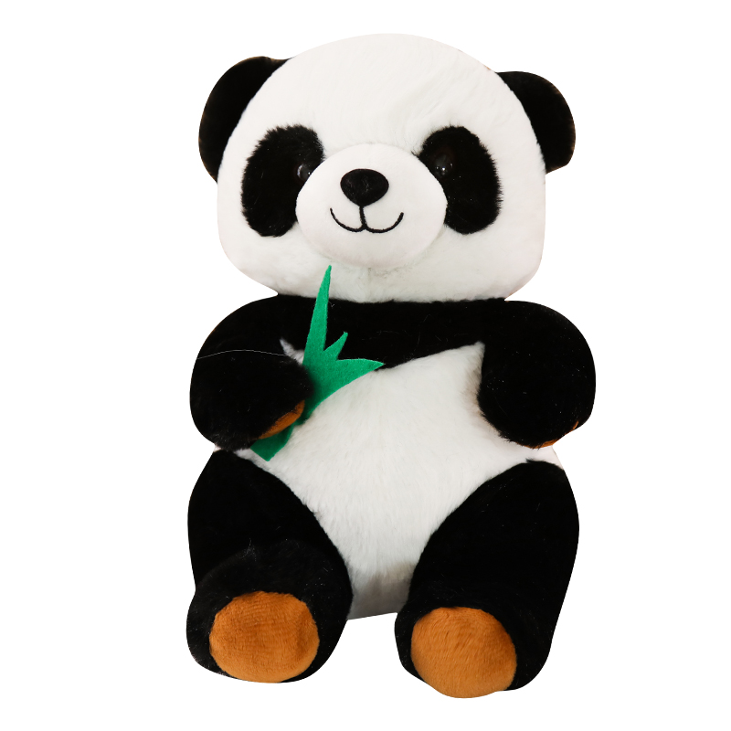 Custom <strong>Plush</strong> Stuffed Cute Fat Sitting Panda Bear Toy For Kids Gift With Bamboo Leaf