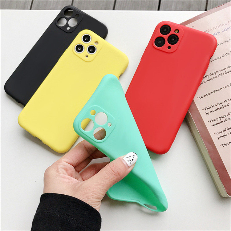 ins Candy Color <strong>Phone</strong> Case For iPhone 11 Pro X XR XS Max 8 7 6s Plus Camera Protection Solid Shockproof Soft TPU Back Cover