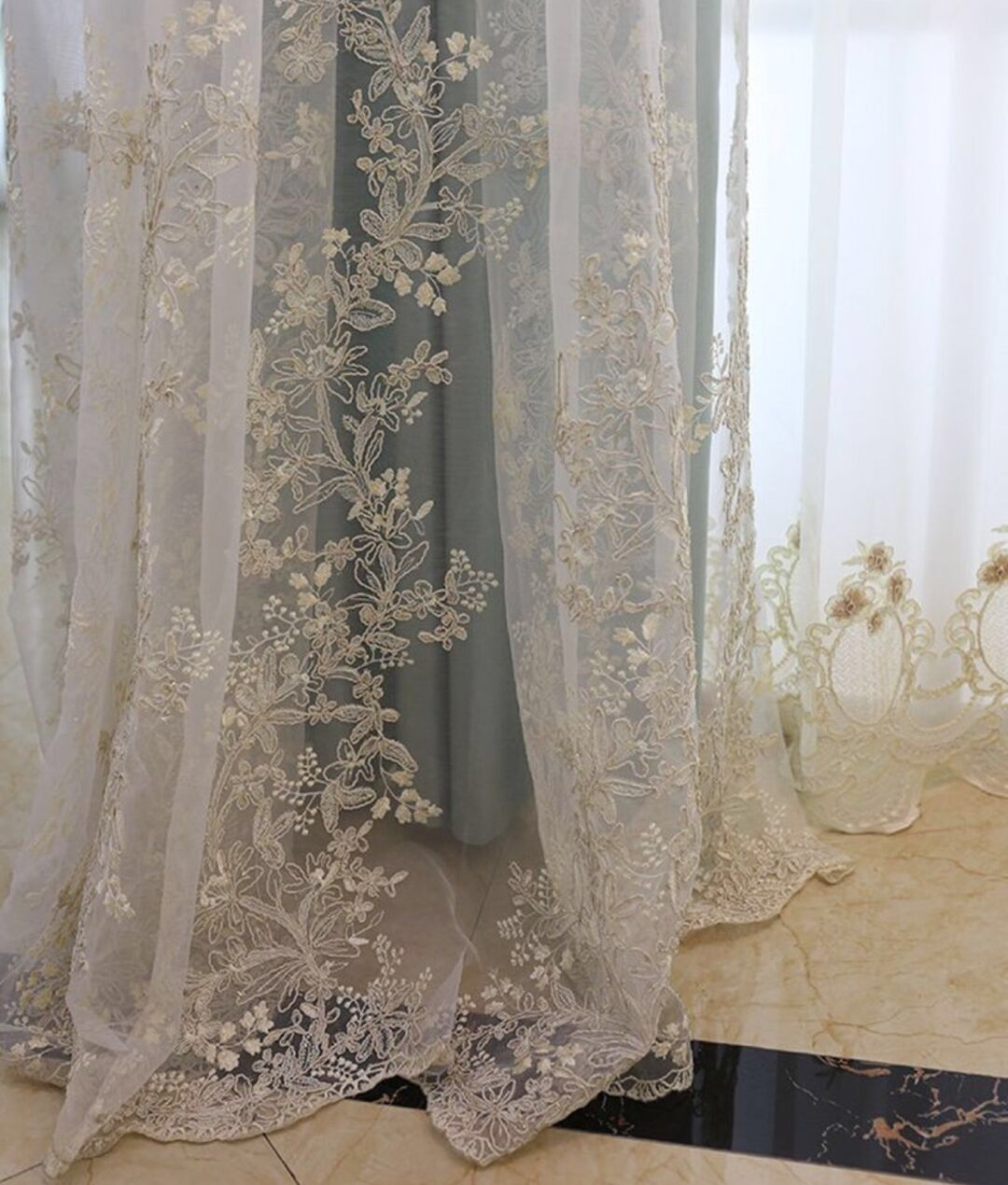 New Arrival Luxury Embroidery Floral Sheer Curtain Fabric for the living room