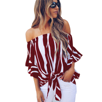 2019 New Fashion Vertical Stripes Blouse Off Shoulder Sexy Women Top