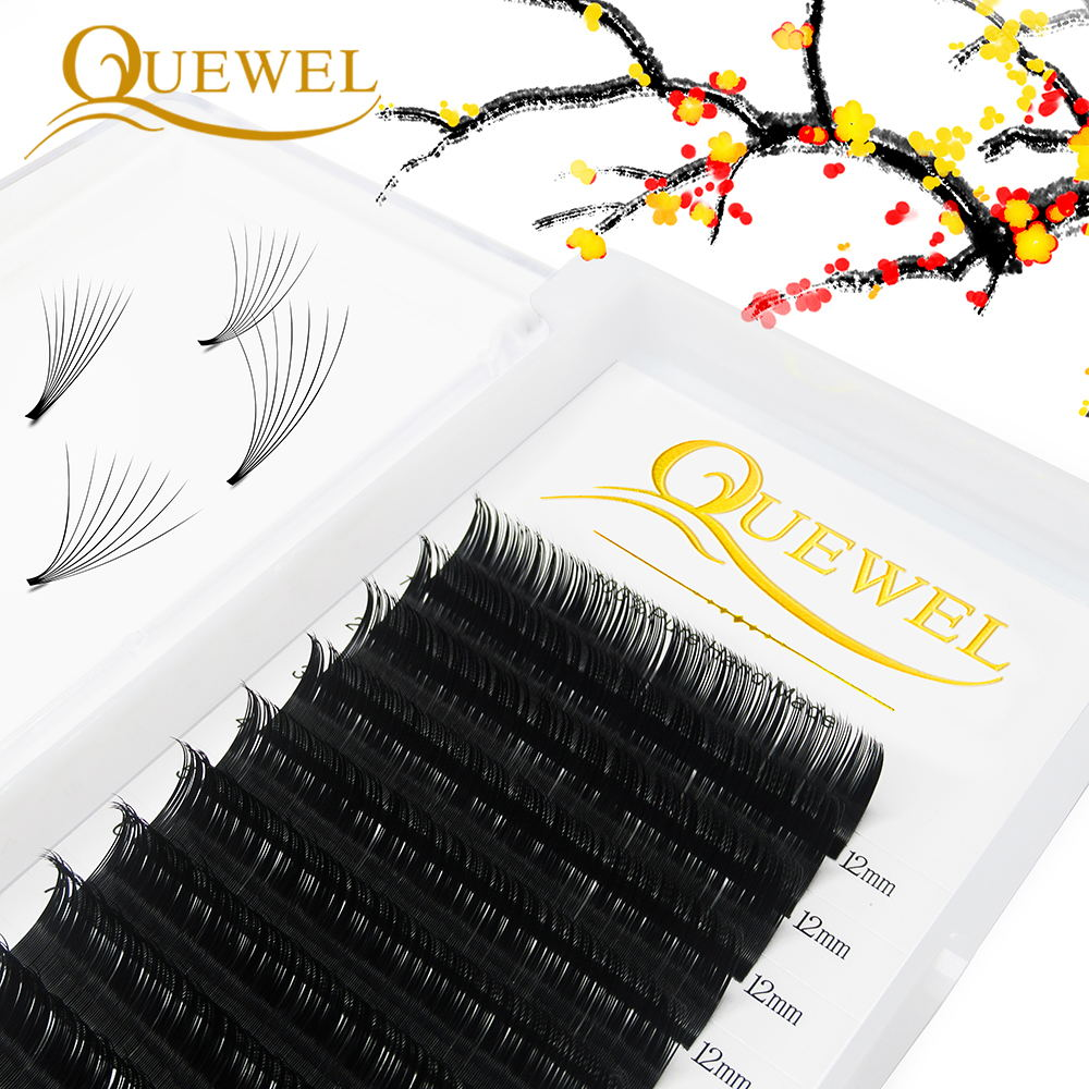 Custom Private Label Custom Box Wholesale Price 6-18mm Quewel Auto Easy Fan Lash Extension Bloom Eyelash Extension