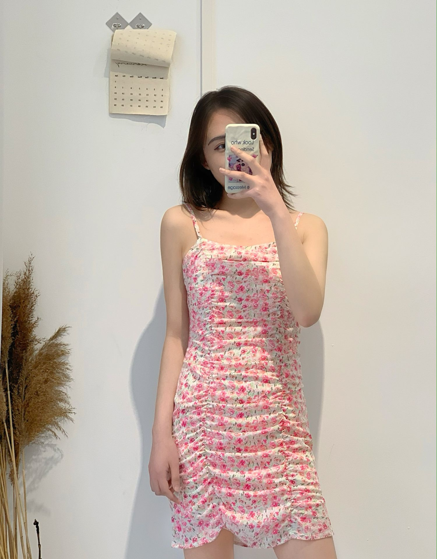 Newest elegant style backless women pink spaghetti strap dress sweet blue floral lady gathered mini dresses