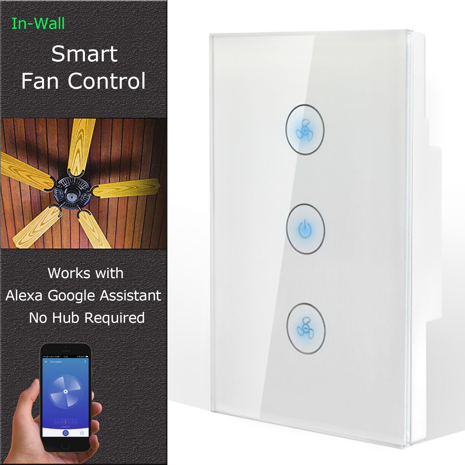 Wifi Ceiling Fan Regulator Switch/Smart Wireless Wifi Fan Switch Compatible with Alexa/GoogleHome/IFTTT
