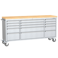 Kinbox 72-Inch 15-Drawer Stainless Steel Tool Cabinet Heavy Duty for Workshop Store Tools