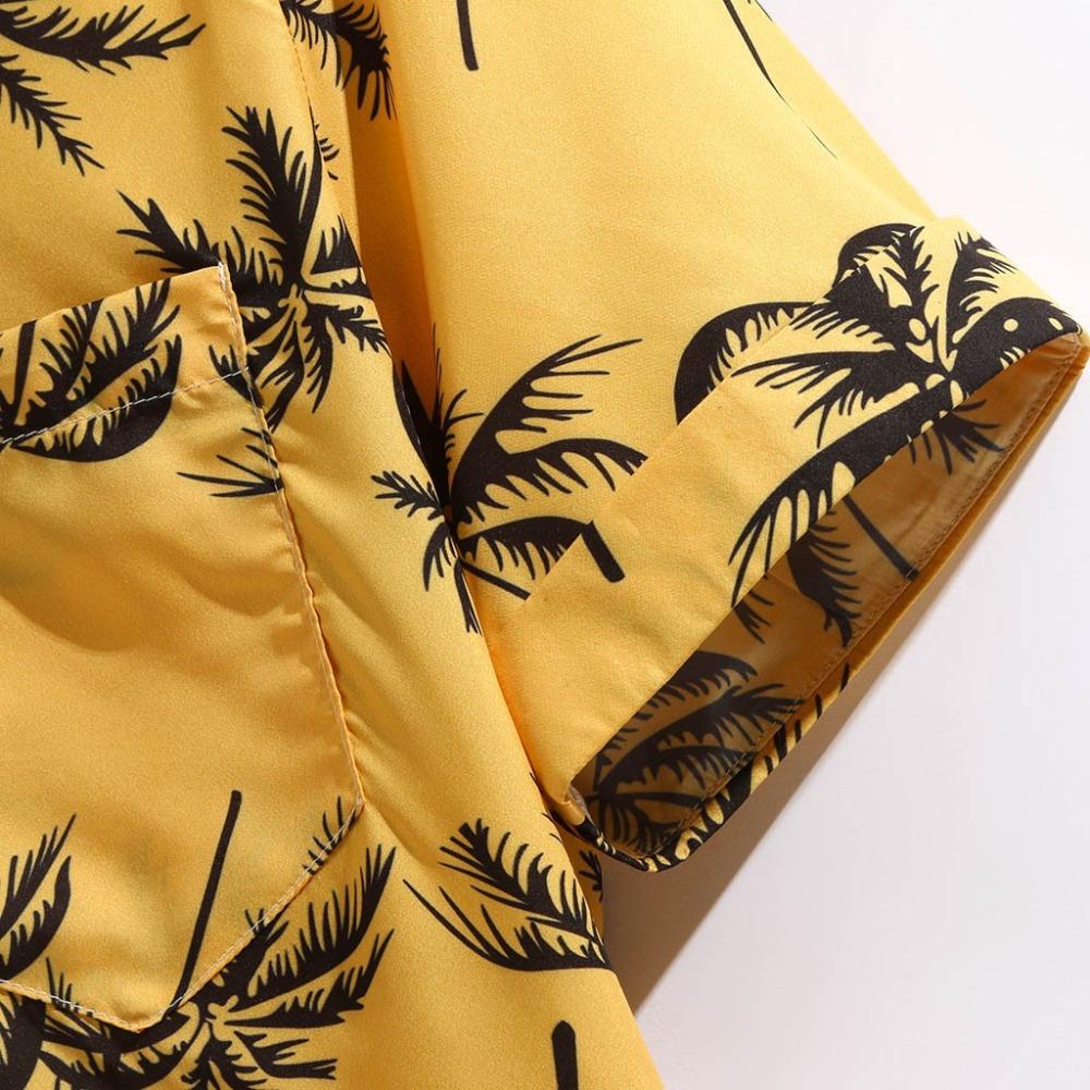 In Stock Men Short Sleeve Digital Printed Casual Yellow Beach Aloha Hawaiian Shirts