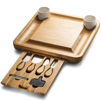 Bamboo Cheese Board With Cutlery Server Set Meat Wood Charcuterie Serving Platter Tray