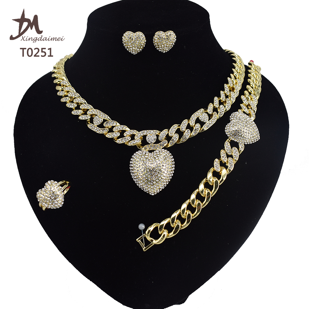 T0251 jewelry <strong>set</strong> women High quality 18k gold plating Miami style hip hop Cuban chain jewelry <strong>set</strong>