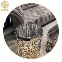 Guangdong Xinlifeng Factory Black Round Circle Metal Marble Coffee <strong>Table</strong>