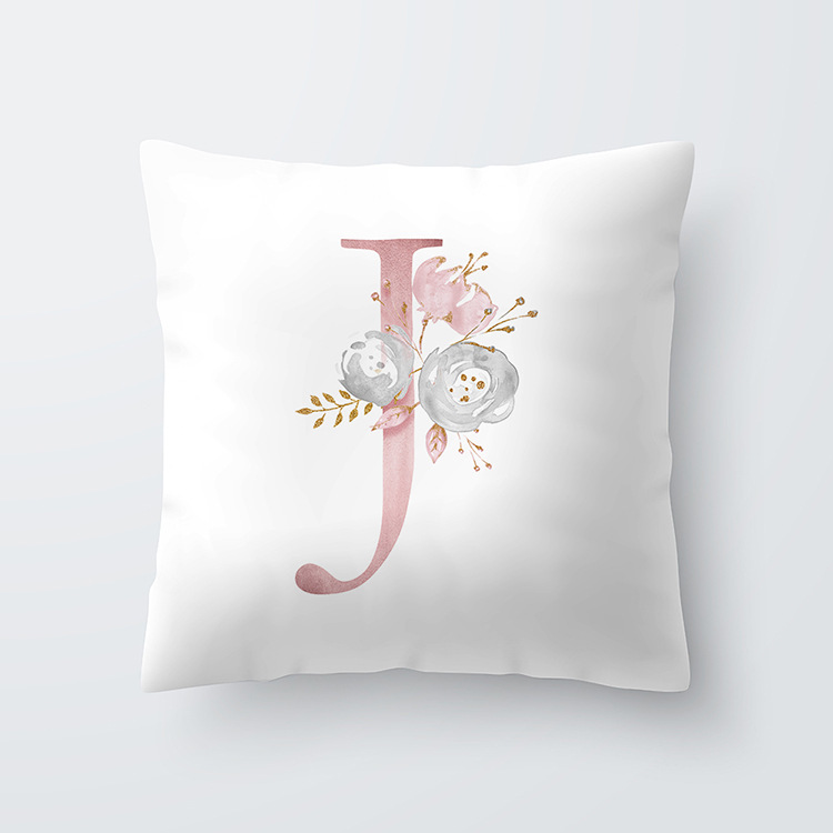 English Alphabet <strong>J</strong> Cushion Cover,50 X 50 Cm Bed Cushion/