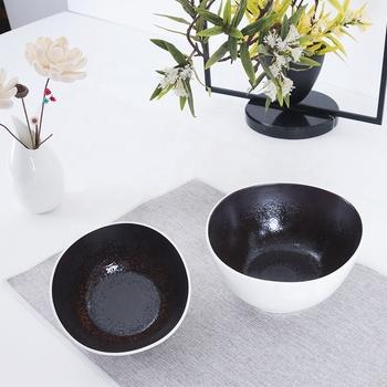 factory bulk custom printed glazed irregular restaurnat porcelain white matte ceramic bowl