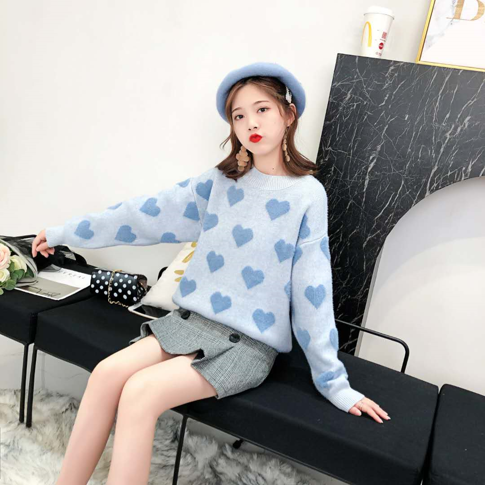 Love Sweater Woman Loose Pullover Outside Wearing Autumn New Languid Lazy Wind Sweater Is Very Fairy