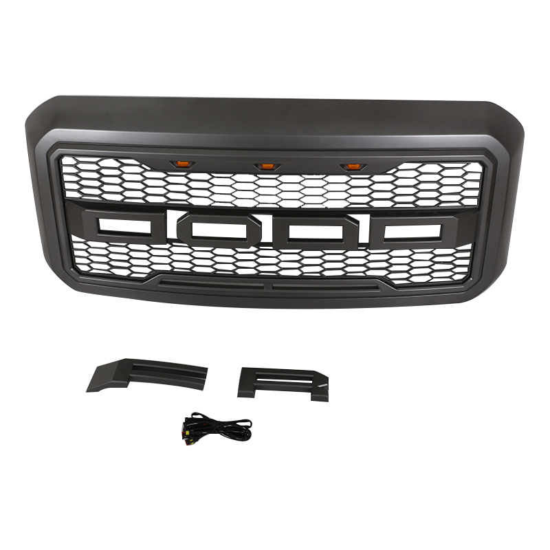 2012-2016 SUPER DUTY MATTE BLACK MESH FRONT BUMPER GRILLE <strong>W</strong>/SHELL+LED LIGHT FOR F-ORD F250